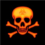 Orange Biohazard Skull
