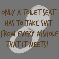 Only A Toilet Seat Has To Take Shit From Asshole