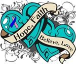 Thyroid Cancer Hope Faith Dual Hearts Shirts