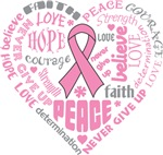 Breast Cancer Heart Words Shirts