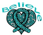 Believe Mosaic Heart Ovarian Cancer Gifts