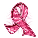 Breast Cancer Watermark Slogan Ribbon Shirts