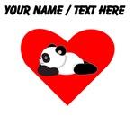 Custom Panda Lying Down Heart