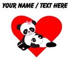 Custom Panda Baby And Mother Heart