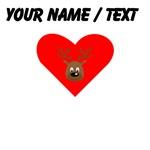 Custom Cute Brown Reindeer Heart
