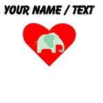 Custom Green Polka Dot Elephant Heart