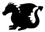 Black Baby Dragon Silhouette