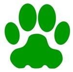 Green Big Cat Paw Print