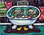 Happy Pugs in bath