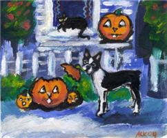 BOSTON TERRIER pumpkin thief design