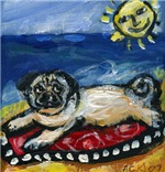 Pug sunbathin at the beach
