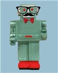 Hipster Robot With Bowtie Mustache and Glasses Gee