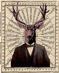 Gentleman Sir Deer Victorian Steampunk Altered Art