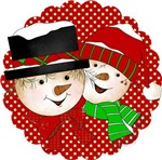 Snowman Couple Red