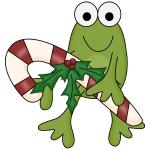 Frog with Candy Cane tshirts and Gifts