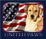Golden Retriever United Paws USA Flag Designs