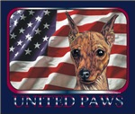Red Min Pin United Paws USA Flag Products