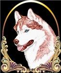 Blue Eyed Red Siberian Husky Holiday/Xmas Gold
