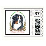 Bernese Mountain Dog Xmas Stamp Card Print Poster