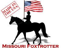Missouri Foxtrotter Horse flying the American flag
