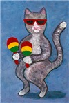 Cat Shaking Maracas