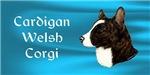 Cardigan Welsh Corgi design with blue background