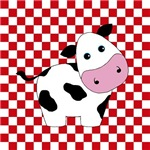 Cow on Red and White