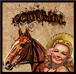 Cowgirl & Horse Pinup - Tattoo Style