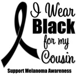 I Wear Black Ribbon (Cousin) Melanoma T-Shirts