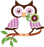 Wise Old Colorful Owl On Branch With Flower