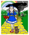Dorothy and her little dog Toto heading down the famous yellow brick road just ahead of a tornado. Great fun for everyone who loves this great classic!