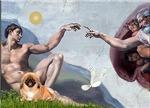 CREATION OF MAN<br>& Pekingese (red)