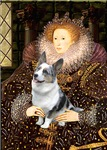QUEEN ELIZABETH I<br>& Blue Merle Welsh Corgi