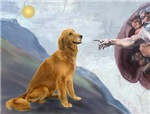 CREATION OF MAN<br>& Golden Retriever (red)