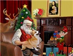 SANTA AT HOME<br>& Welsh Corgi (Pem)#7B