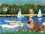 SAILBOATS<br>& English Bulldog (Br-white)