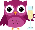 Pink Happy New Year Champagne Owl