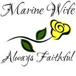 Marine Wife Always Faithful with yellow rose