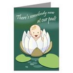 Water Lily Birth Announcement Cards