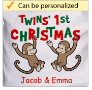 Twins' First Christmas - Monkey