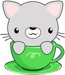 Kawaii Grey Kitty in teacup
