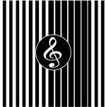 stylish musical clef on stripes