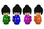 Cute Kokeshi Doll Art