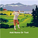 Vintage Golfer highland golf course scene