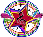 Raibow colored musical notes stars