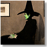 James Whistler's mother in her Halloween costume.  This is a cute adaptation of the Wicked Witch of the West from the Wizard of Oz in a very famous painting.