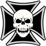 Black Biker Cross Skull