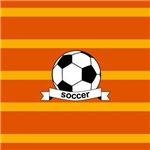 Soccer Ball Banner Orange and Yellow Stripes