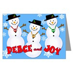 Cute Snowmen with Peace Signs Holiday Greetings