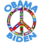 Obama Biden Peace Sign Made of Flags